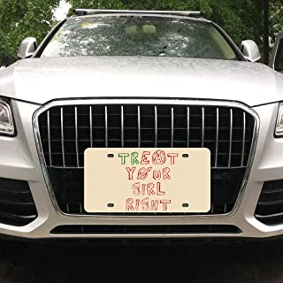 Tian Smile Treat Eat Your Girl Right Customized Aluminum License Plate Frame Cover Automobile License Plate Cover and Four-Hole Rectangular Silver License Plate 6