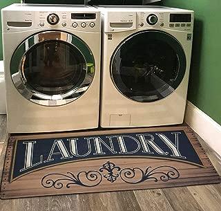 Ukeler Laundry Room Mat,Non Skid Floor Mat Waterproof Washhouse Mat Vintage Floor Mat for Washroom 2x4