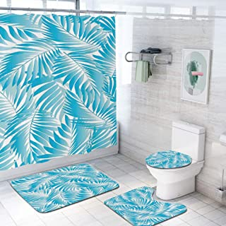Leaves 69x70 inch Shower Curtain Sets,Miami Style Tropical Aquatic Palm Leaves with Exotic Colors Summer Beach Decorative Toilet Pad Cover Bath Mat Shower Curtain Set 4 pcs Set,Turquoise Aqua Blue