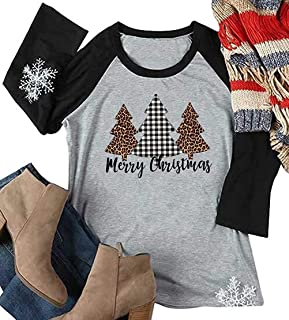 EGELEXY Plus Size Women T-Shirt Christmas Tress Print Blouse Long Sleeve Casual Female Ladies Tops Tee