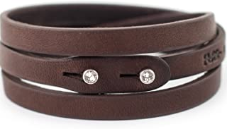 Genuine Italian Leather Wrap Bracelet with Swarovski Crystal Closure | Multiple Colors Available Women or Men | Handcrafted in Italy (Te Plus)