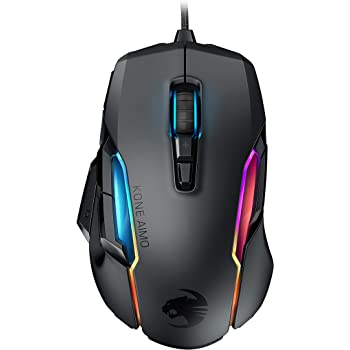 Roccat Kone AIMO Gaming Mouse (High Precision, Optical Owl-Eye Sensor (100 to 16.000 DPI), RGB Aimo LED Illumination, 23 Programmable Keys, Designed in Germany) Black(remastered)