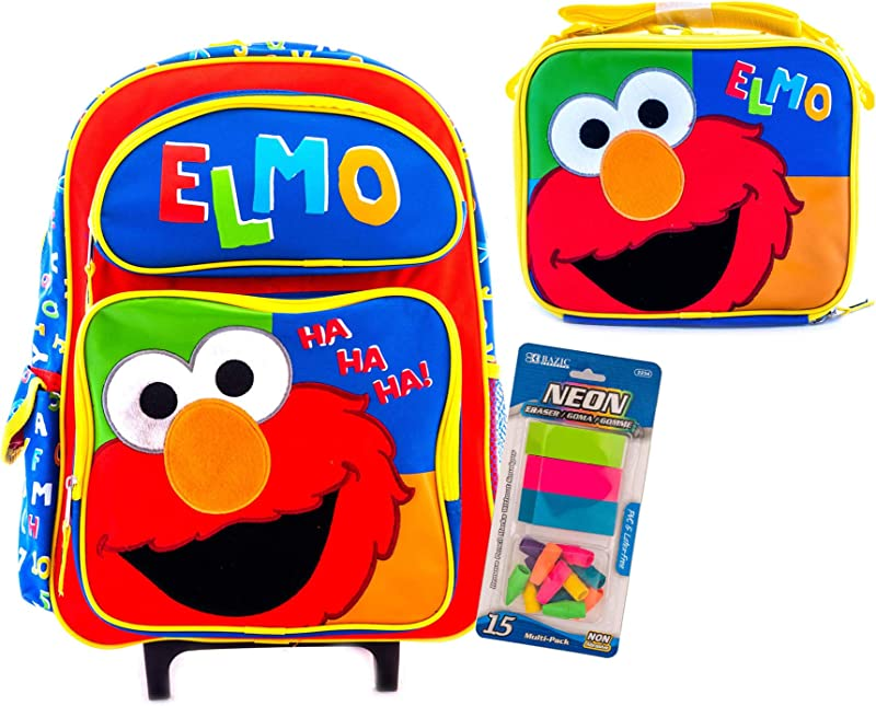 Elmo Rolling Backpack And Lunch Box Combo Travel Bag Sesame Street Bag Packaged With Stationary Supply 16 Rolling Lunchbox