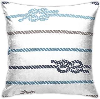 fenrris65 Fundas de almohada decorativas de 45,7 x 45,7 cm, fundas de almohada cuadradas para sofá, dormitorio, coche, azul marino, marinero, patrón de nudos y cuerda marina y barco azul náutico