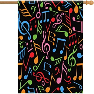 INTERESTPRINT Music Notes Polyester House Flag 28 x 40 Inch Polyester Decorative Large Garden Flags Party Yard Home Decor