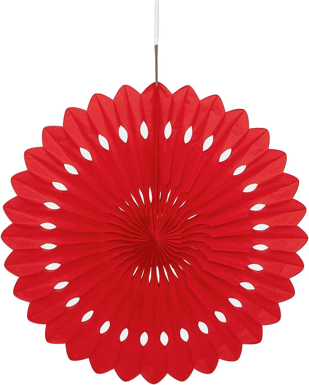 COOLMP - Rosone Rosso da Appendere, 40 cm, Taglia Unica, Decorazione Accessori per Feste, Animazione, Compleanno, Matrimonio, Eventi, Giocattoli, Ptuttioncino (Confezione da 12)