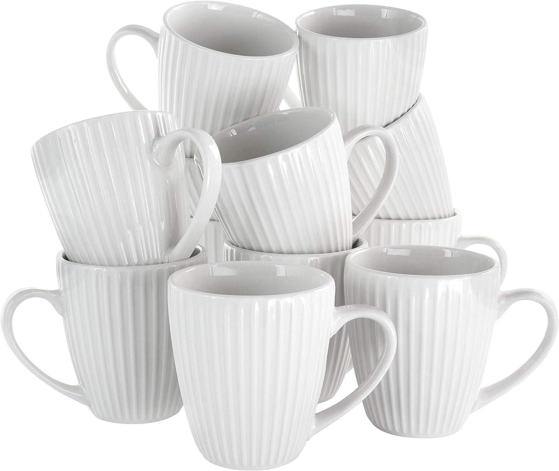 Elama Bombing free shipping Elle 12 Piece Round in Manufacturer OFFicial shop White Mug Porcelain Set