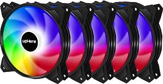 upHere 120mm Sync 5v 3pin ARGB PWM Ventilador de PC Caja de Ordenador,Silencioso-Paquete de 5/PF1207-5