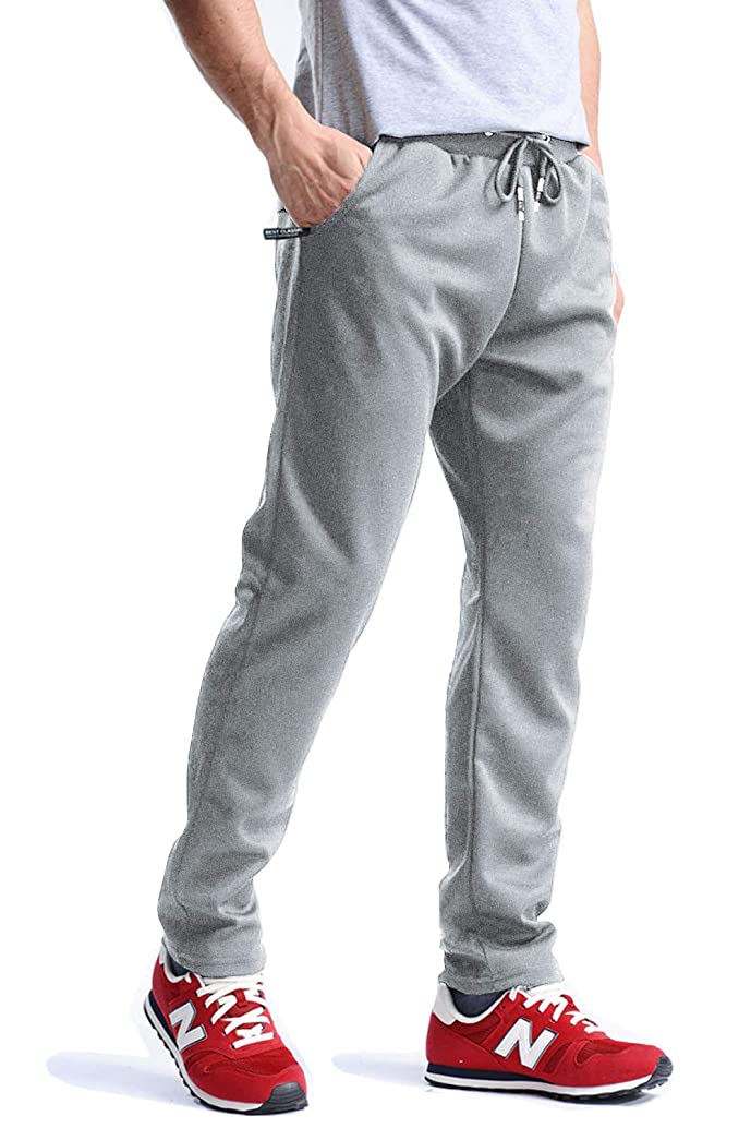 MAGCOMSEN Men's Wrinkle-Free Sweatpants Lightweight Drawstring Zipper Pockets Workout Running Pants