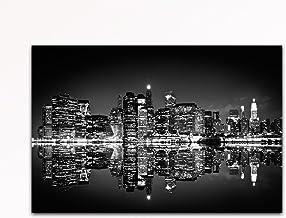 Deine bilder24. de–Mural XXL Skyline New York de noche Negro de blanco sobre lienzo y bastidor. La mejor calidad, hecho a mano en Alemania., blau gelb weiß grün rot orange braun schwarz rosa, 60 x 80