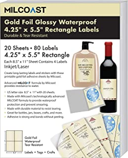 Milcoast Gold Foil Glossy Waterproof Tear Resistant Adhesive 4.25