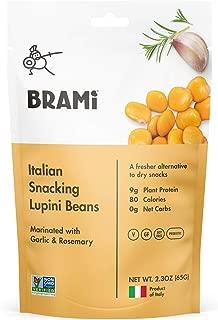 BRAMI Lupini Beans Snack, Garlic & Rosemary | 9g Plant Protein, 0g Net Carbs | Vegan, Vegetarian, Keto, Mediterranean Diet | 2.3 oz (8 Pack)