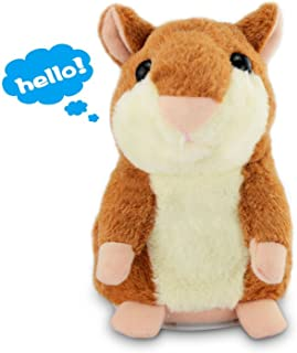 Angel Kiss Mimicry Pet Talking Hamster Repeats What You Say Plush Animal Toy Electronic Hamster Mouse for Boy and Girl Gift,3 x 5.7 inches( Brown )