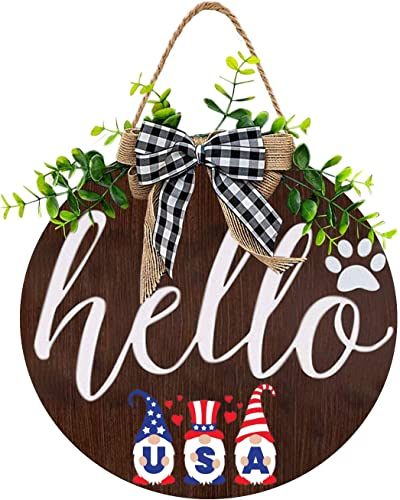 """2021 Independence Day Welcome Sign high quality for Front Door Hanging Decoration Housewarming Hello Sign with Cute Gnome Painting Summer Fall Welcome Wreath Front Porch Outdoor Restaurant Home Decor, wholesale 12"""" sale"""