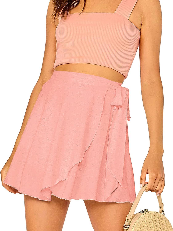 SheIn Women's Casual Elastic Waist Self Belted Overlap Skater Flared Wrap Short Skirt