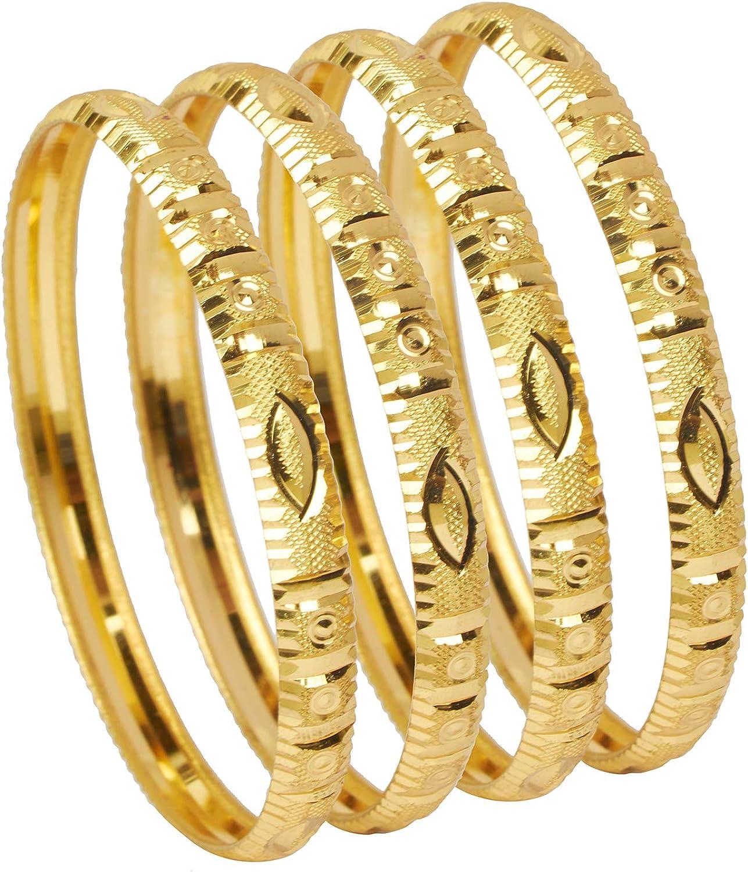 Bodha 24K Fine Gold Plated Traditional Indian Bollywood Designer Bangles for Women (Pack of 4) SJ_3273