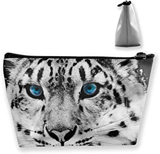 Homlife Cute White Snow Leopard Illustration Cosmetic Tote Bag Carry Case - Large Trapezoidal Storage Pouch - Travel Accessories Portable Make-up Bag