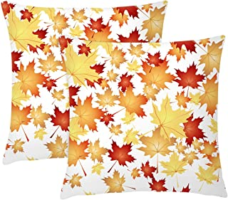 J-MOOSE Set of 2 Water Color Autumn Maple Leaves Throw Pillow Covers Decorative Square 18 x 18 Inch 45 x 45 cm