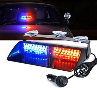 Xprite Red & Blue 16 LED High Intensity LED Law Enforcement Emergency Hazard Warning Strobe Lights for Interior Roof/Dash/Windshield with Suction Cups