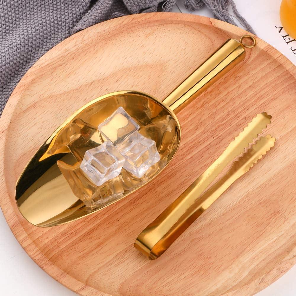 Eiszange /& Schaufeln Gold Bar Grillparty S/ü/ßigkeiten-Buffet-Clip /& Edelstahl-Schaufel Hochzeit Mehl f/ür Eis N/üsse S/ü/ßigkeiten