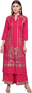 BI AMMA PINK PRINTED STRAIGHT KURTA WITH PALAZZO SET
