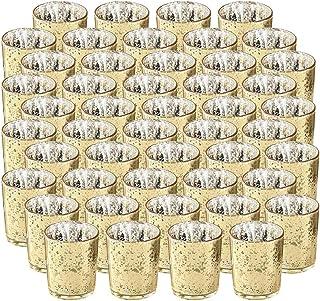 SUPREME LIGHTS ·2017· NEWLIGHTURE Votive Candle Holders Set of 48, Mercury Glass Tealight Holders Bulk, Speckled Gold, for...