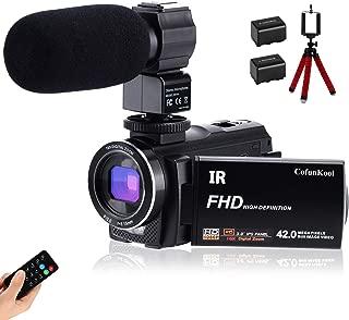 Cámara de video CofunKool Ultra HD 42MP Videocámara 1080P 3.0 Pulgadas 270 ° Rotación IPS Pantalla táctil Cámara de YouTube Vlogging con micrófono externo Mini trípode Soporte TV Salida USB