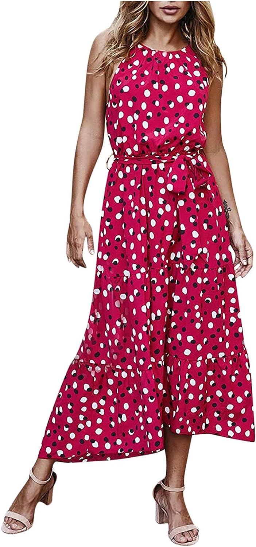 JPLZi Women's Summer Casual Boho Sundress Polka Dot Sleeveless Flowy Midi Dresses