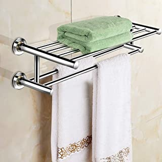 Wall Mounted Stainless Steel Towel Storage Rack, Size 24 x 9 x 6 inches, Hold Up 44 Pound Weights, Suitable for Humid Environments, Such as Bathrooms or Hotels