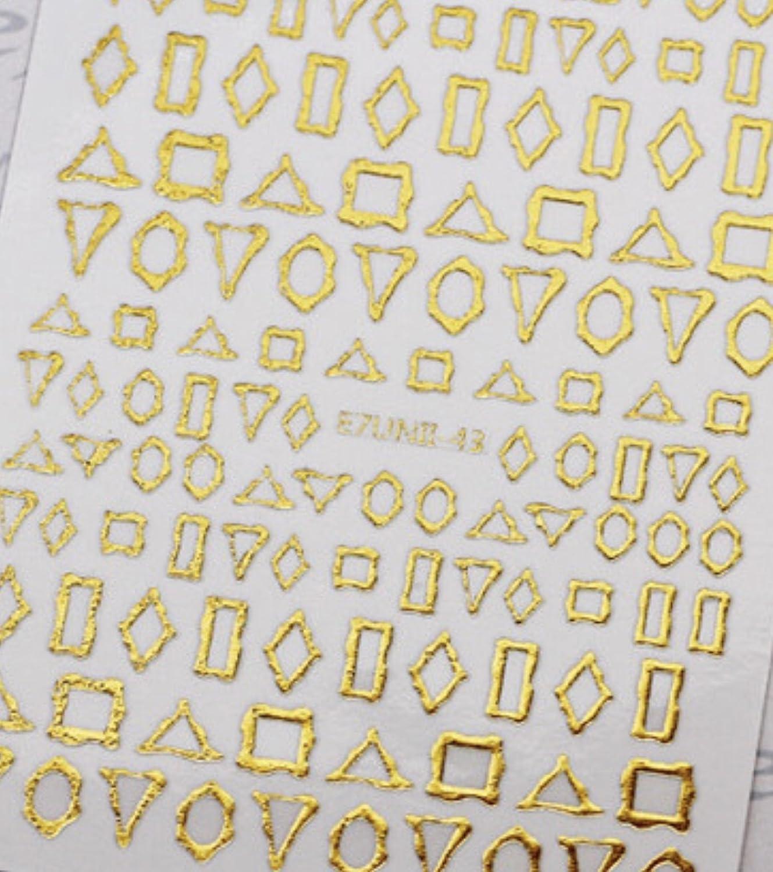 時々コール分岐する極薄直接貼るタイプ ネイルシール スティッカー 枠 変形フレーム 垂らしこみアート用 多種多様なデザインに対応可能 ゴールド 金色 43番