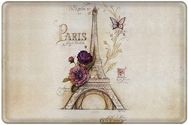 Amuseds Paris Themed Light Brown Eiffel Tower Entrance Mat Floor Mat Rug Indoor Front Door Bathroom Doormat 23 6 X15 7 L X W