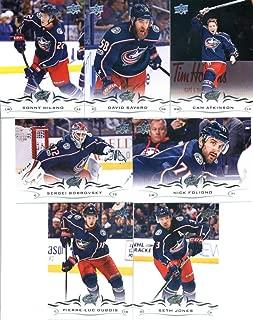2018-19 Upper Deck Hockey Columbus Blue Jackets Veteran Team Set of 7 Cards: Pierre-Luc Dubois(#51), Sergei Bobrovsky(#52), Seth Jones(#53), Cam Atkinson(#54), David Savard(#55), Sonny Milano(#56), Nick Foligno(#57)