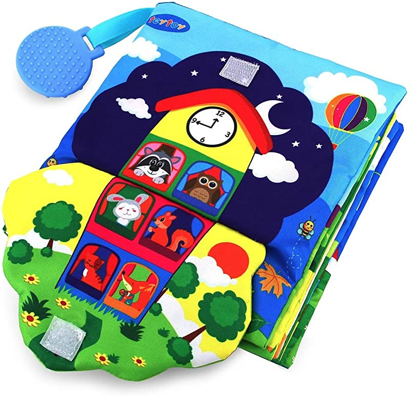 Teytoy Baby Soft Activity Books 3D Big Early Learning Basic Life Skills Book Zip Button Buckle Lace Crinkle 3D Touch Fabric Book My First Book With Turquoise Silicone Teether BPA Free For 0 36