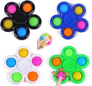 ATIMIGO 4 Pack Simple Dimple Rotatable Fidget Sensory Toy,Push Pop Bubble Fidget Toys,Fidget Popper Stress Relief and Ant...
