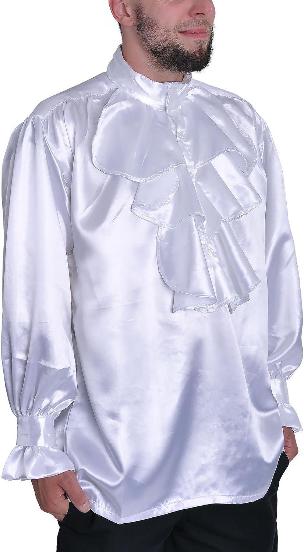 Gothic Pastor Camisa con cuello alto, color blanco, satén, de tamaños: M – XXL