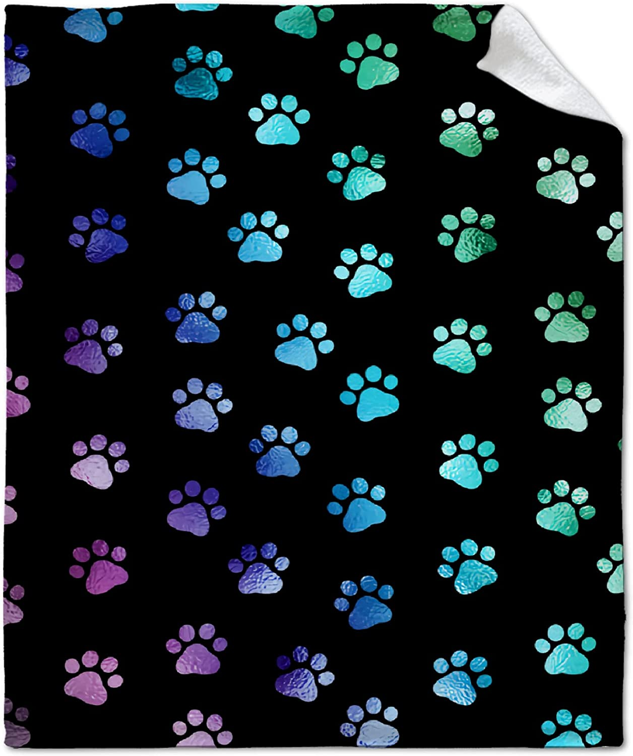 Dog Paw Print Funny Blanket Flannel Throw Be super welcome Large special price !! Perfec Fleece