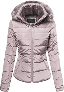 Made by Emma Women's Quilted Puffer Jacket with Detachable Faux Fur Hood