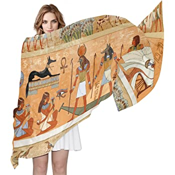 Double Joy Lightweight Long Silk Scarf Wrap Ancient Egyptian Culture for Womens
