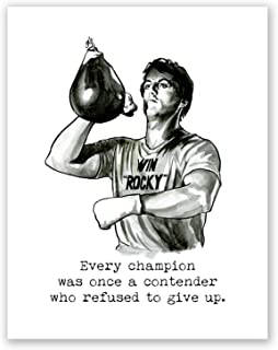 AtoZStudio A62 Rocky Poster // Rocky Balboa Quote Motivational Box Wall Art Print // Watercolor Portrait // Decor // Gym Training Artwork // Picture (8x10)