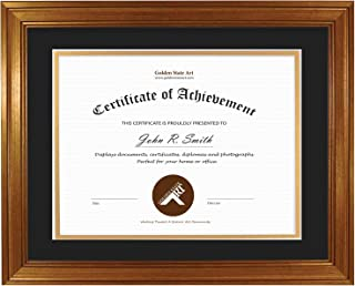 Golden State Art, Frame for Diploma/Certificate, Includes Double Mat and Real Glass (Dark Gold Color Frame, Black Over Gold Double mat, 11x14 Frame for 8.5x11 Certificate)