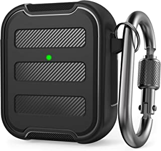 AhaStyle Rugged AirPods Case Shockproof Hard-Shell TPU Protective Case Cover Compatible with AirPods 2 & 1 (Black)