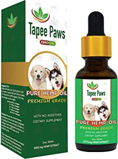 Tapee Paws Hemp Oil for Dogs and Cats - Pain Relief, Calming, Fights Cancer, Remedies - Arthritis, Stress, Seizures, Muscle Spasms, Epilepsy, Separation Anxiety, Itching & Skin Allergies …