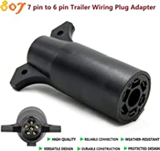 807 7-Way Blade to 6-Way Round Trailer Adapter [Nickel-Plated Copper Terminals] [Rugged Nylon Housing] [Compact Design] 7-pin to 6-pin Trailer Wiring Plug Adapter