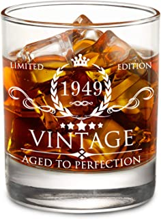 1949 70th Birthday Gifts for Men and Women Lowball Whiskey Glass - Vintage Funny Anniversary Gift Ideas for Mom, Dad, Husband, Wife - 70 Years Gifts, Party Supplies, Decorations for Him or Her - 11oz