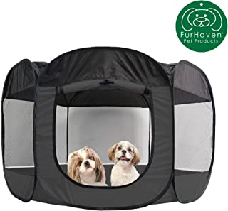 Furhaven Pet Playpen | Indoor/Outdoor Mesh Open-Air Playpen & Exercise Pen Tent House Playground for Dogs & Cats, Gray, Extra Large