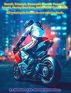 Ducati, Triumph, Kawasaki, Honda, Yamaha, Suzuki, Harley Davidson, BMW, Moto Guzzi, KTM. All motorcycle brands in one colo...