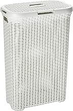 CURVER | Coffre à linge 40L - Aspect rotin, Ivoire, Laundry Hampers & Baskets, 44,7x26,5x61,5 cm