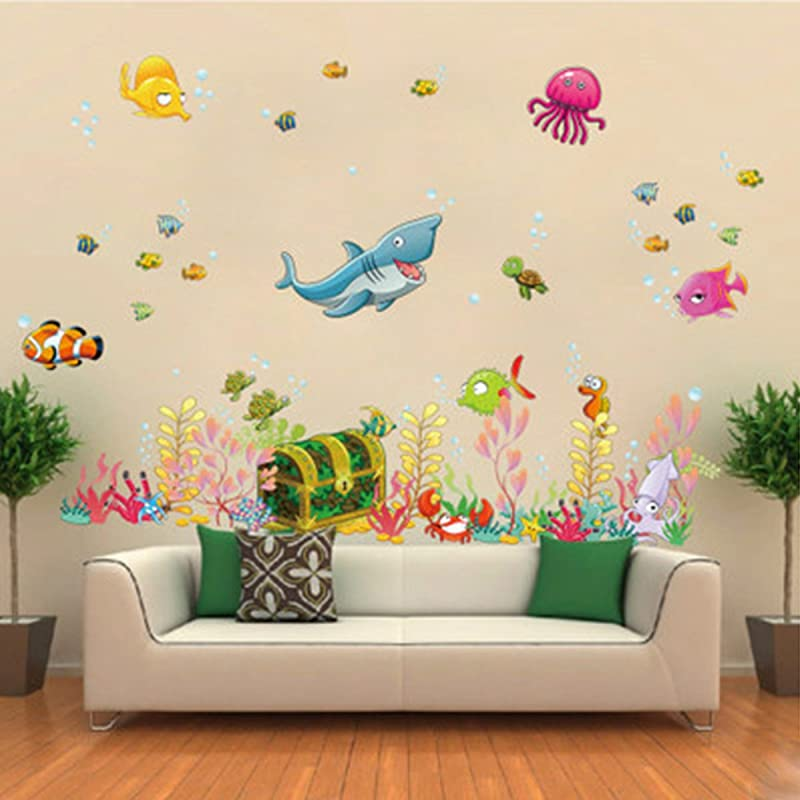 Under The Sea Wall Decals Dolphin Seagrass Coral Peel Vinyl Wall Stickers DIY Removable Stick Baby Boys Girls Kids Room Nursery Wall Mural Decor Dolphin Seagrass Coral