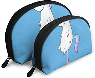 Makeup Bag Cute Unicorn Stool Portable Half Moon Clutch Pouch Bags Organizer For Women