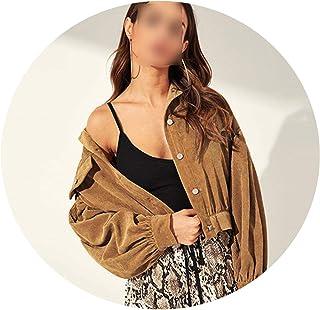 JunXian coats Chamarra de Pana con Botones y Hombros caídos, Camel, Manga sólida, para Mujer